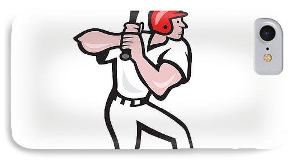 Baseball Player Batting Side Cartoon Phone Case by Aloysius Patrimonio