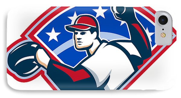 Baseball Player Throwing Ball Retro Phone Case by Aloysius Patrimonio