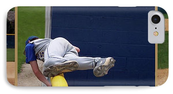 Baseball Playing Hard 3 Panel Composite 02 Phone Case by Thomas Woolworth