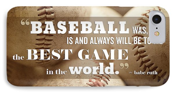 Baseball Print With Babe Ruth Quotation IPhone Case by Lisa Russo