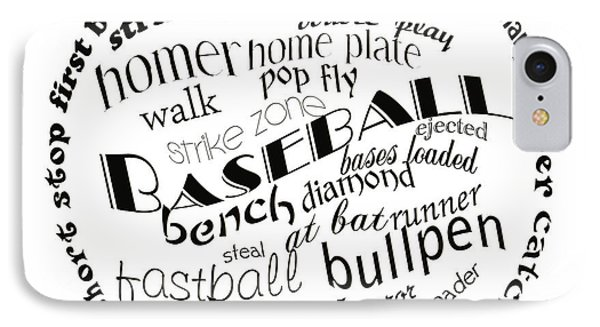 Baseball Terms Typography Black And White Phone Case by Andee Design