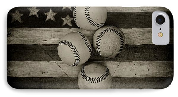 Baseball Usa In Black And White IPhone Case by Paul Ward