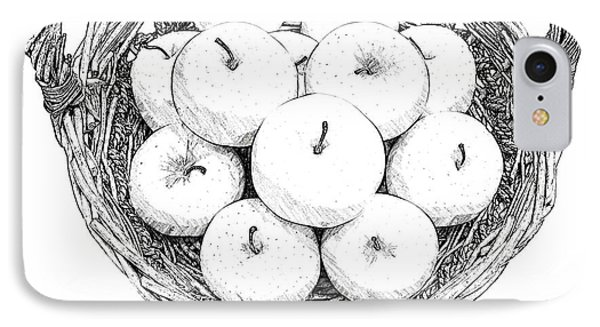 Basket With Apples Sketch IPhone Case by Ezeepics