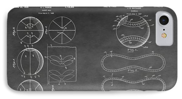 Basketball And Baseball Patent Drawing IPhone Case