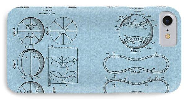 Basketball Baseball Patent Blue IPhone Case