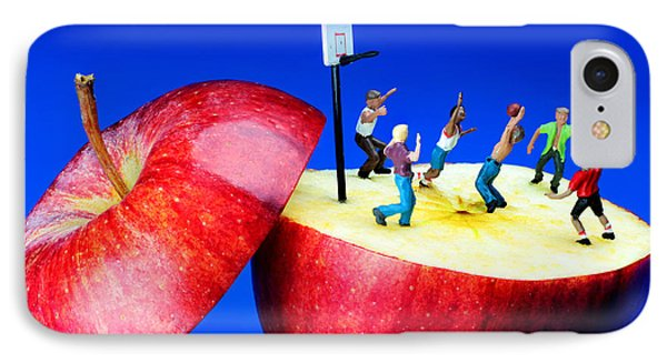 Basketball Games On The Apple Little People On Food Phone Case by Paul Ge
