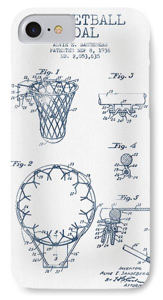 Basketball Goal Patent From 1936 - Blue Ink IPhone Case