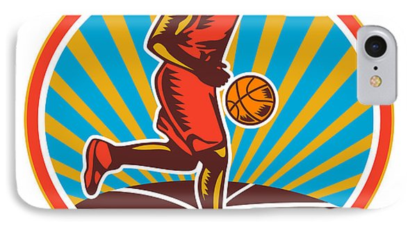 Basketball Player Dribbling Ball Woodcut Retro Phone Case by Aloysius Patrimonio