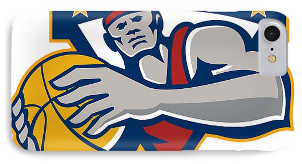 Basketball Player Holding Ball Star Retro IPhone Case by Aloysius Patrimonio