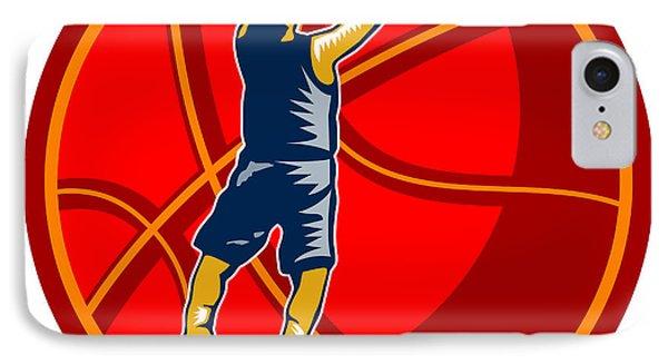 Basketball Player Jump Shot Ball Woodcut Retro Phone Case by Aloysius Patrimonio