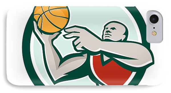 Basketball Player Lay Up Ball Circle Retro IPhone Case by Aloysius Patrimonio