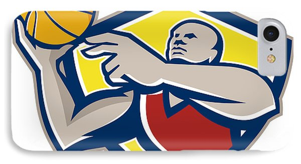 Basketball Player Laying Up Ball Retro IPhone Case by Aloysius Patrimonio
