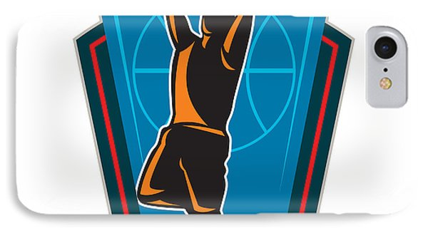 Basketball Player Rebounding Ball Shield Retro IPhone Case by Aloysius Patrimonio