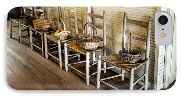 Baskets On Ladder Back Chairs IPhone Case by Lynn Palmer