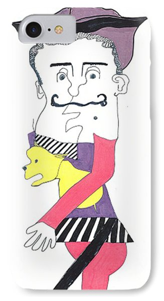 IPhone Case featuring the drawing Basque Man With Dog by Don Koester