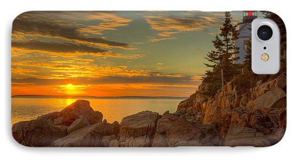 Bass Harbor Head Light At Sunset I IPhone Case by Clarence Holmes