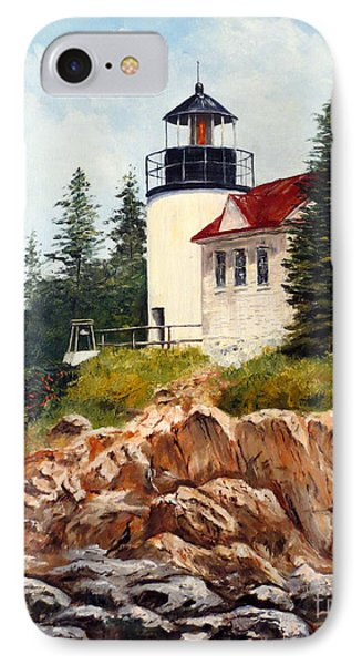 IPhone Case featuring the painting Bass Harbor Head Light by Lee Piper
