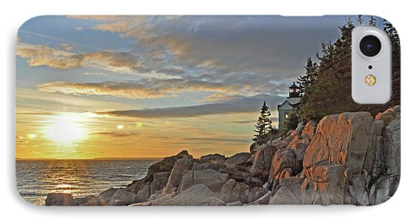 IPhone Case featuring the photograph Bass Harbor Lighthouse Sunset Landscape by Glenn Gordon