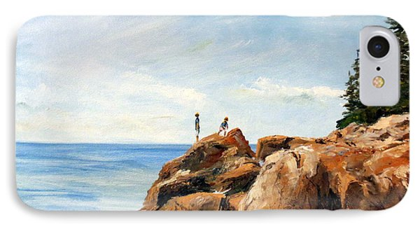 IPhone Case featuring the painting Bass Harbor Rocks by Lee Piper
