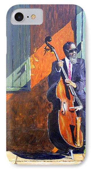 Bass Player In New Orleans Phone Case by Barbara Jacquin