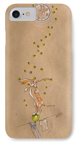 Basset Hound And Fireflies IPhone Case by David Breeding