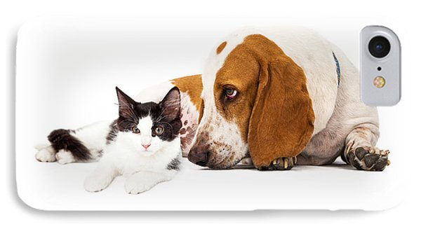 Basset Hound Dog And Kitten IPhone Case