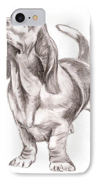 IPhone Case featuring the drawing Basset Hound Dog by Nan Wright