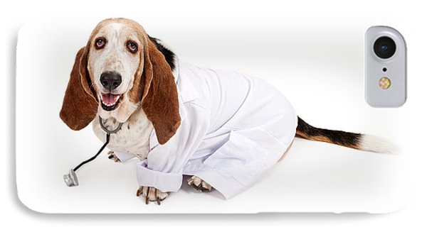 Basset Hound Dressed As A Veterinarian IPhone Case