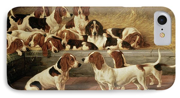 Basset Hounds In A Kennel IPhone Case by VT Garland