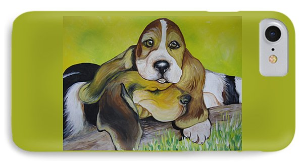 Bassett Hound Pups IPhone Case by Leslie Manley