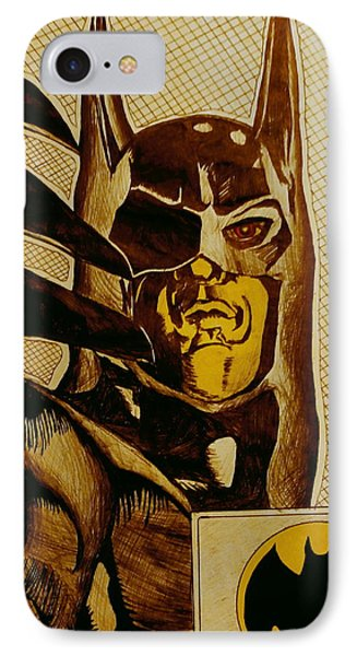 IPhone Case featuring the mixed media Bat Man by Dan Wagner