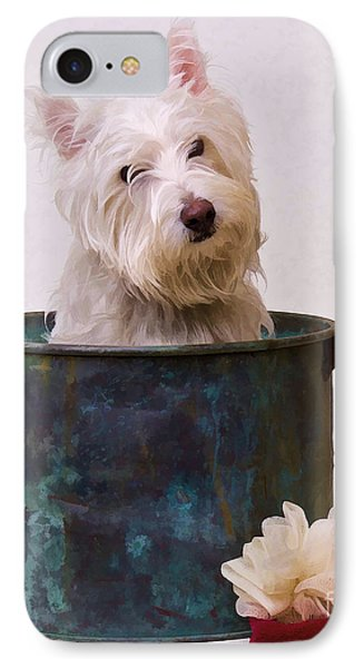 Bath Time Westie Phone Case by Edward Fielding