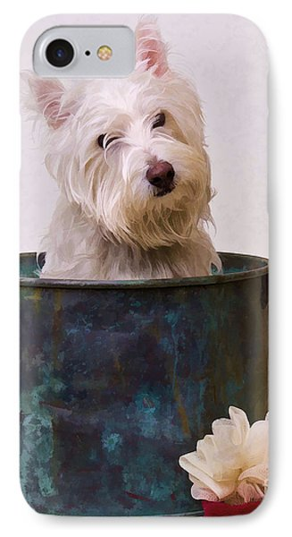 Bath Time Westie IPhone Case by Edward Fielding