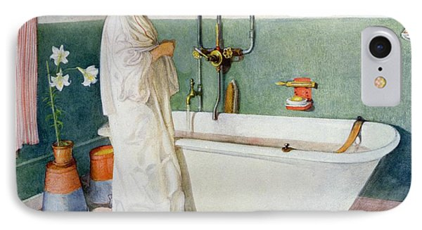 Bathroom Scene Lisbeth IPhone Case by Carl Larsson