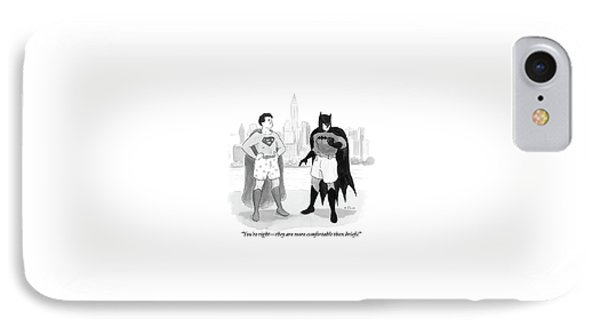 Batman And Superman Stand In Boxers IPhone Case by Emily Flake