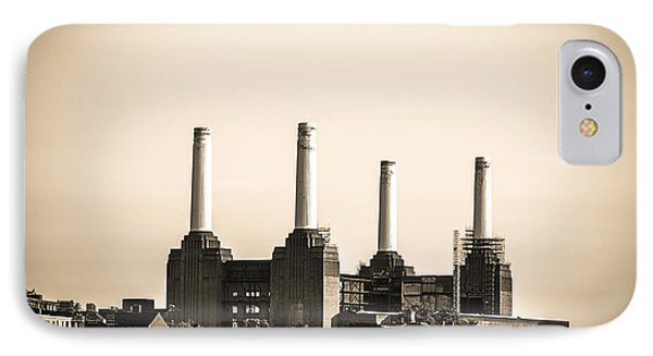 Battersea Power Station With Train Tracks IPhone Case by Lenny Carter
