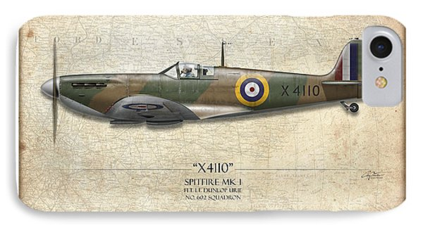Battle Of Britain Spitfire X4110 - Map Background IPhone Case by Craig Tinder
