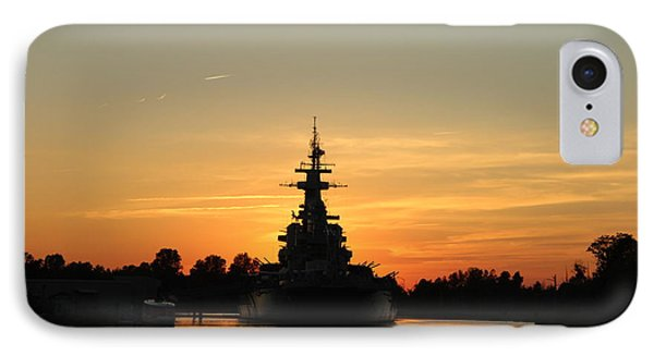 IPhone Case featuring the photograph Battleship At Sunset by Cynthia Guinn
