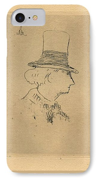 IPhone Case featuring the digital art Baudelaire In Top Hat by Asok Mukhopadhyay