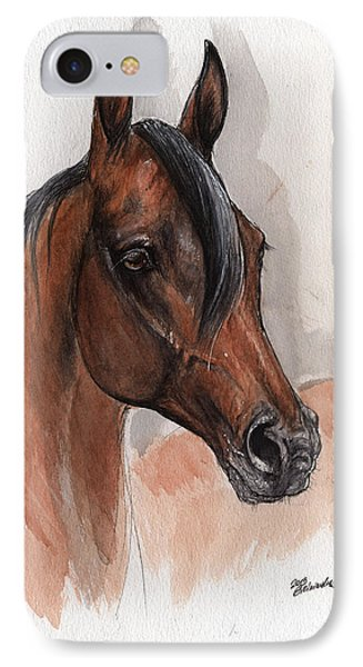 Bay Arabian Horse Watercolor Portrait 08 03 2013 IPhone Case