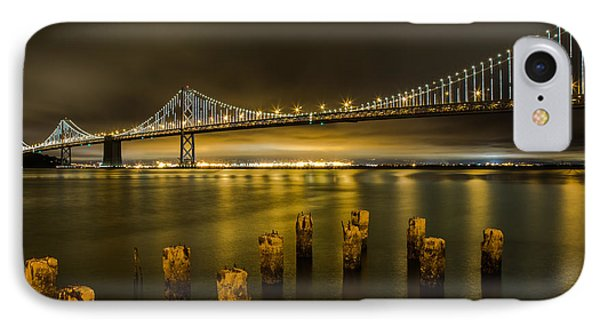 Bay Bridge And Clouds At Night IPhone Case by John Daly