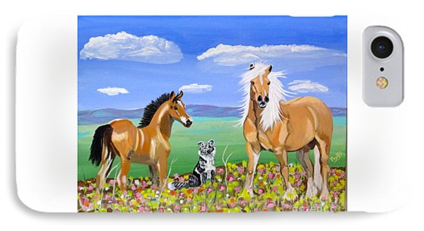 Bay Colt Golden Palomino And Pal Phone Case by Phyllis Kaltenbach