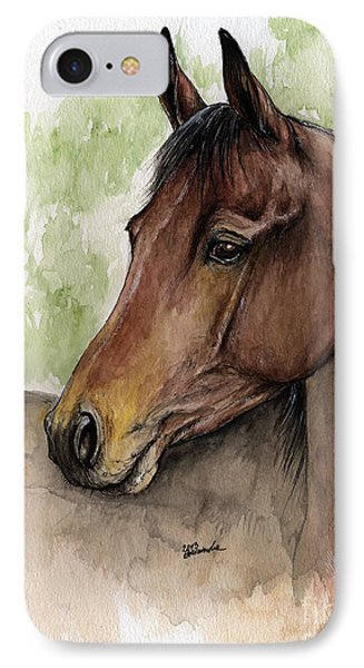 Bay Horse Portrait Watercolor Painting 02 2013 A Phone Case by Angel  Tarantella