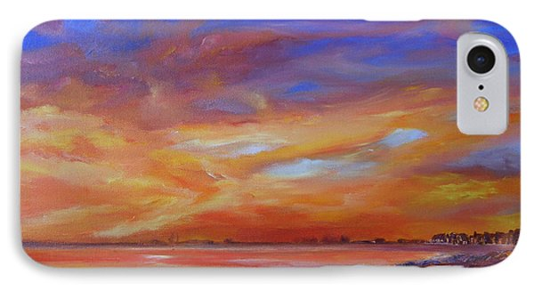 IPhone Case featuring the painting Bay Of Hythe On Fire by Beatrice Cloake