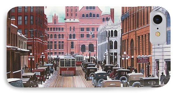 Bay Street Christmas Eve 1924 Phone Case by Kenneth M  Kirsch
