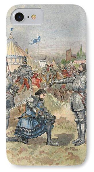 Bayard Knighting Francis I IPhone Case by Albert Robida