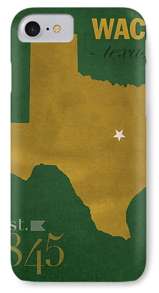 Baylor University Bears Waco Texas College Town State Map Poster Series No 018 Phone Case by Design Turnpike