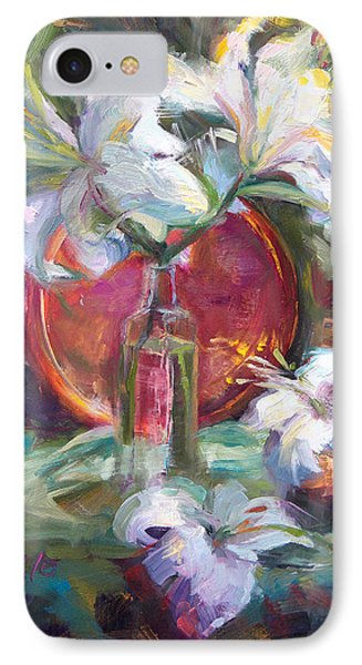Be Still - Casablanca Lilies With Copper Phone Case by Talya Johnson