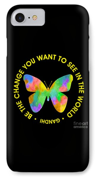 Be The Change - Butterfly In Circle IPhone Case by Ginny Gaura