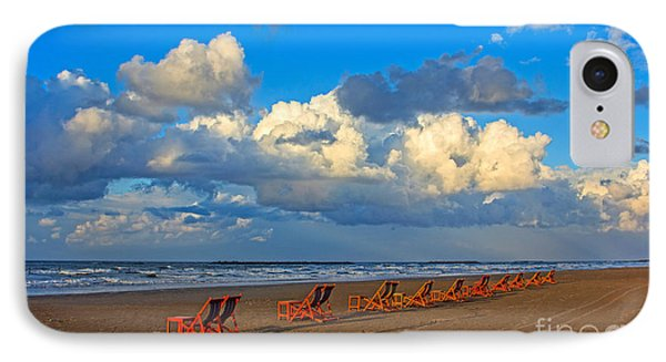 IPhone Case featuring the photograph Beach And Chairs With Cloudy Sky by Mohamed Elkhamisy